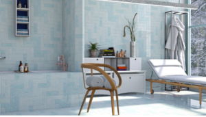 Beautiful light blue sunny bathroom