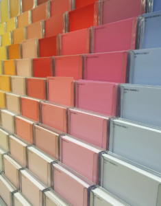 Colorful paint swatches lined up.